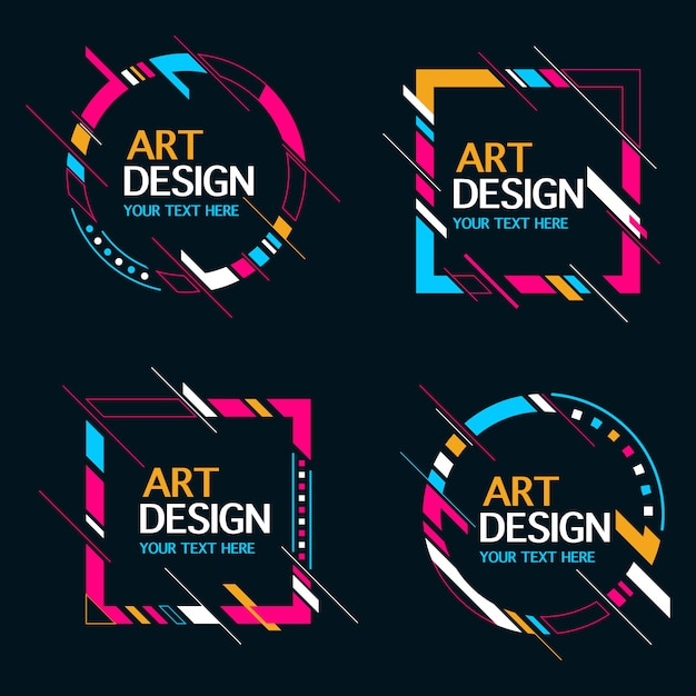 Colección de marco de banner de forma abstracta vector gratuito