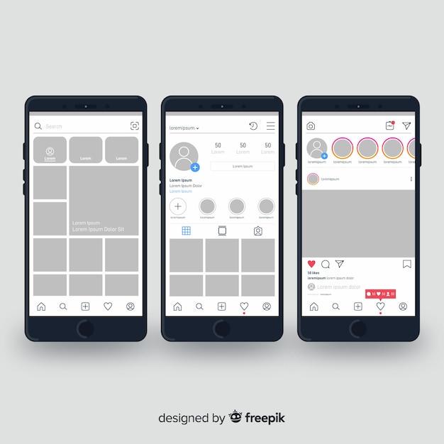 Colección marco instagram realista en iphone vector gratuito