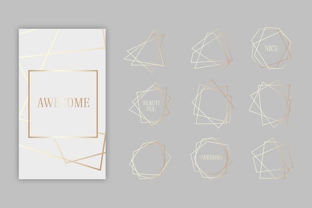 Colección de marco poligonal dorado Vector Premium