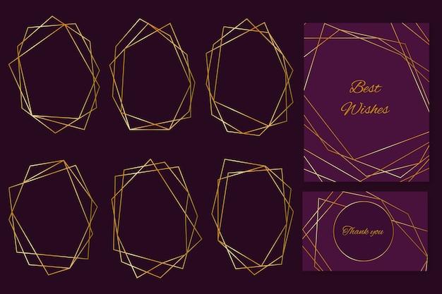 Colección de marcos de boda poligonales dorados vector gratuito