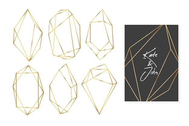Colección de marcos de boda con polígonos dorados vector gratuito