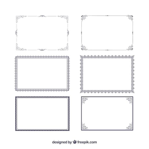 Colección de marcos de certificado vector gratuito
