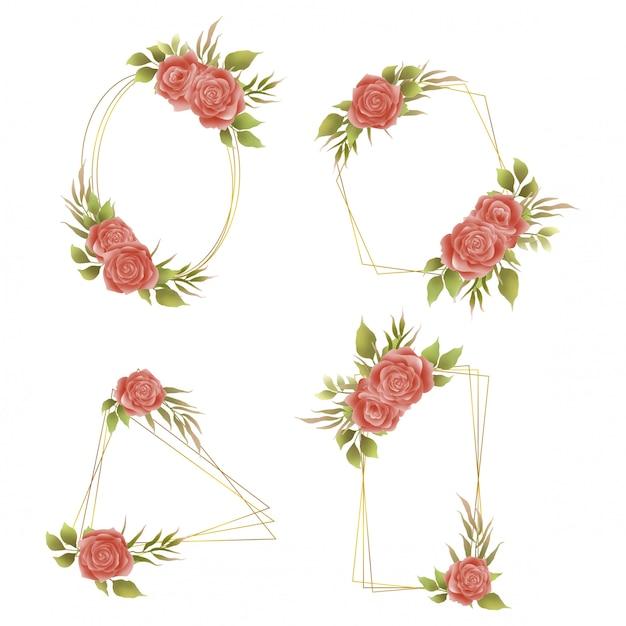 Colección de marcos dorados con acuarela rosa invitaciones de boda Vector Premium
