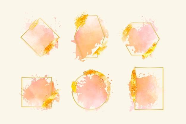 Colección de marcos dorados con trazos de pincel de acuarela Vector Premium
