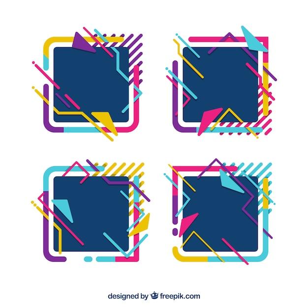 Colección de marcos en estilo colorido vector gratuito