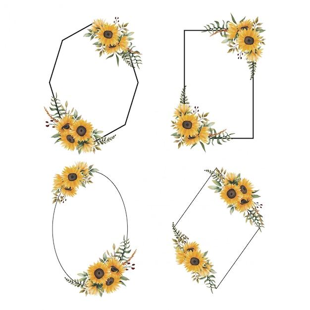 Colección de marcos florales con adornos de ramo de girasol en acuarela Vector Premium