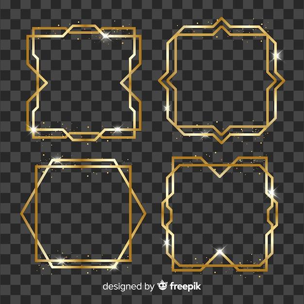 Colección marcos geométricos dorados vector gratuito