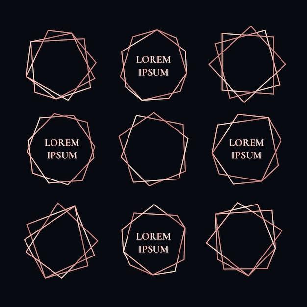 Colección de marcos geométricos de rosas doradas vector gratuito