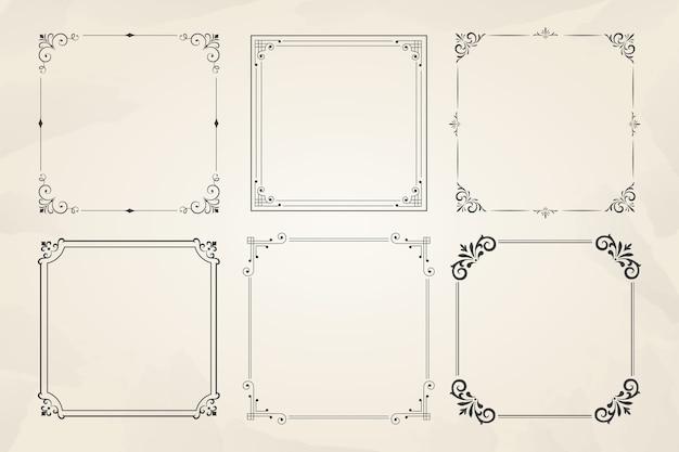 Colección de marcos ornamentales vintage vector gratuito