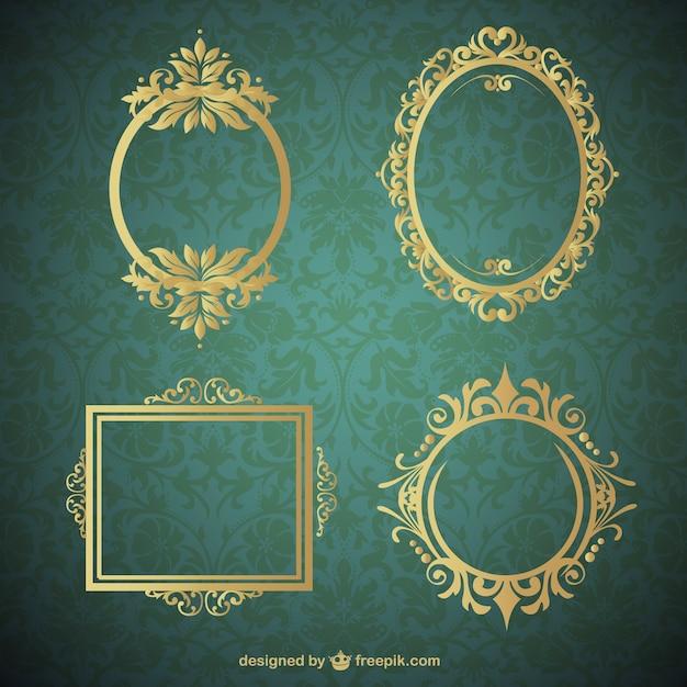 Colección marcos de oro vector gratuito