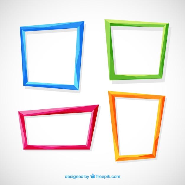 Colección de marcos planos coloridos vector gratuito