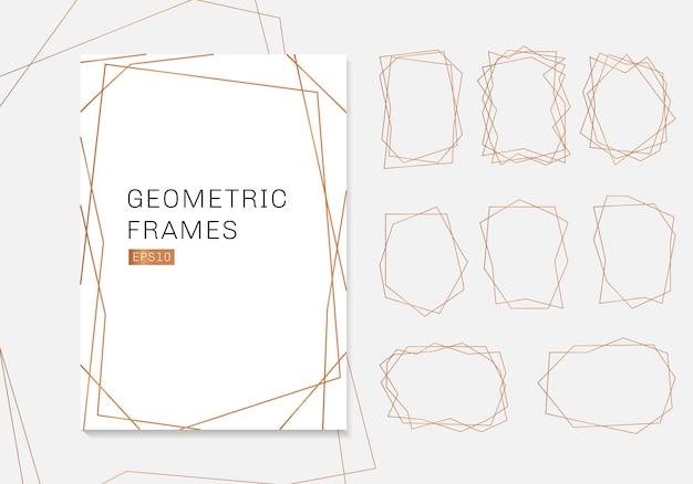 Colección de marcos de poliedro geométrico dorado, plantillas de lujo. Vector Premium