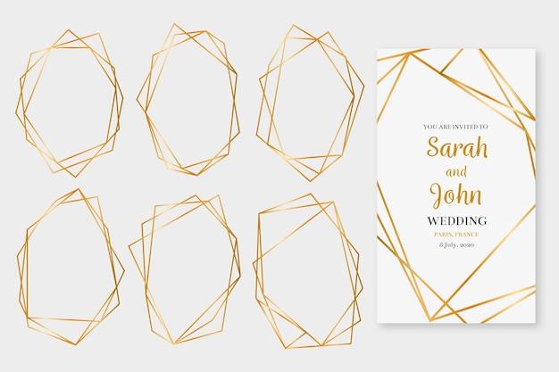 Colección de marcos poligonales dorados relucientes vector gratuito