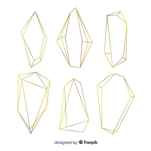 Colección de marcos poligonales dorados vector gratuito