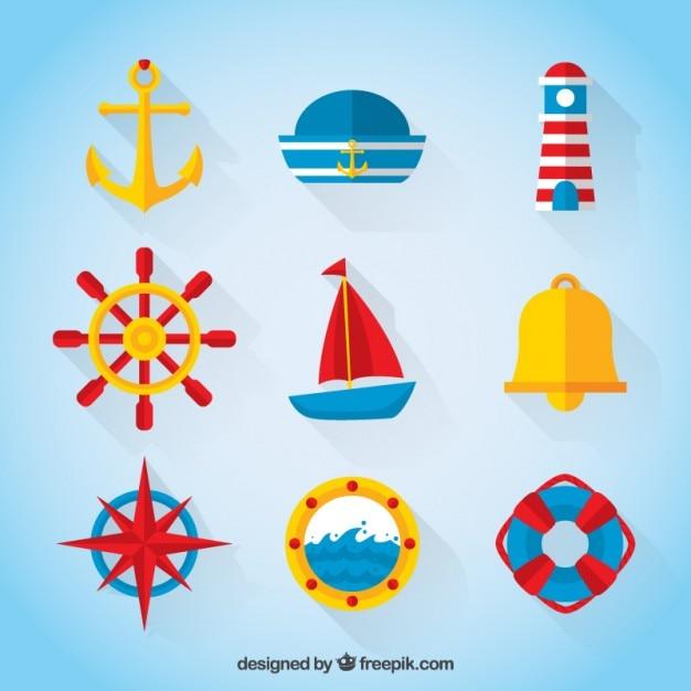 Colección marinera en colores y diseño plano vector gratuito