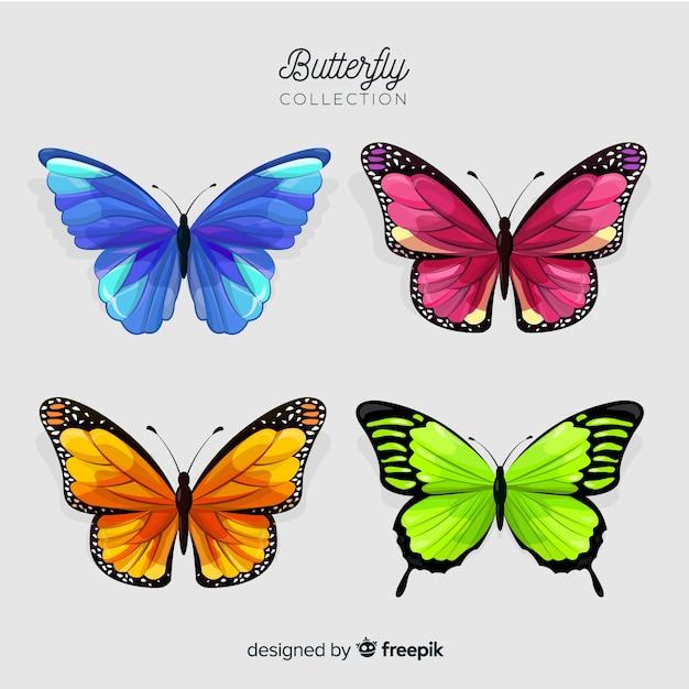 Colección de mariposas en diseño plano vector gratuito