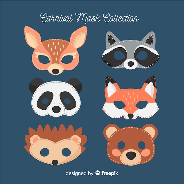 Colección máscaras animales carnaval vector gratuito