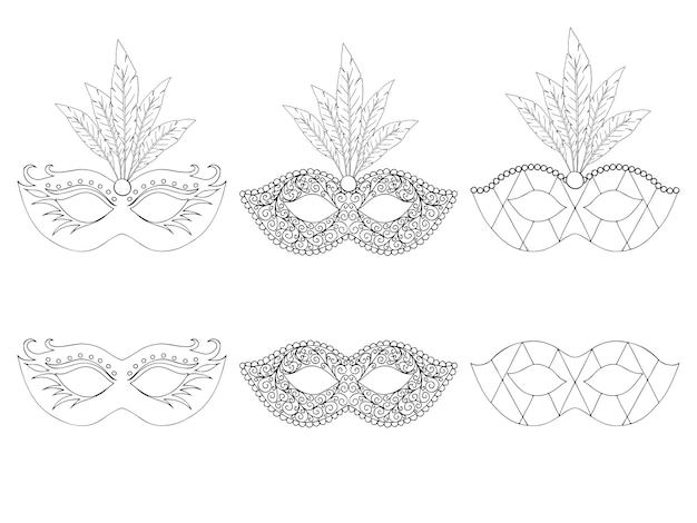 Colección de máscaras dibujadas a mano. aislado en blanco. en blanco y negro. Vector Premium