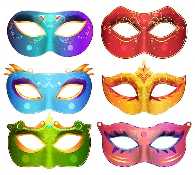 Colección de máscaras faciales para la ilustración de máscaras de carnaval fiesta de disfraces Vector Premium