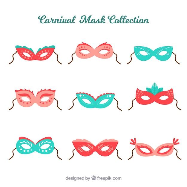 Colección de máscaras planas de carnaval vector gratuito