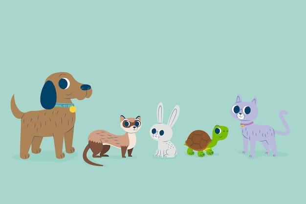 Colección de mascotas diferentes vector gratuito