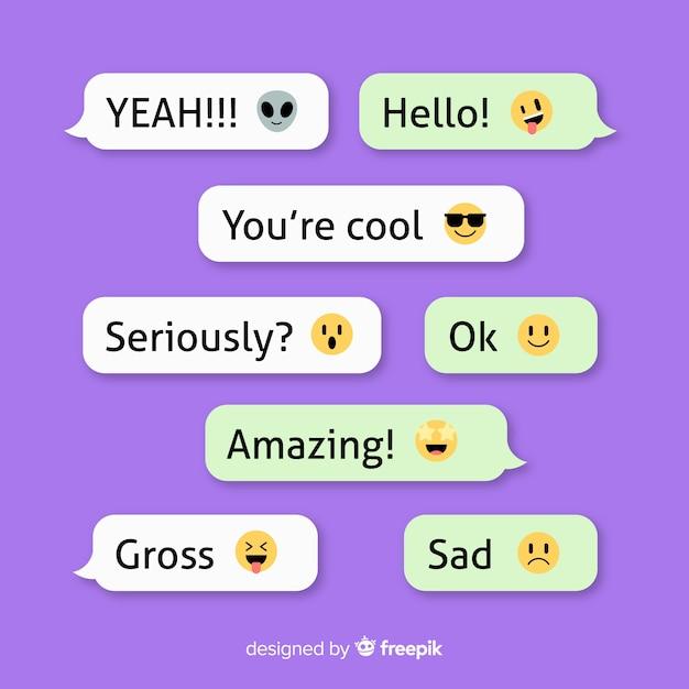 Colección de mensajes con emojis vector gratuito