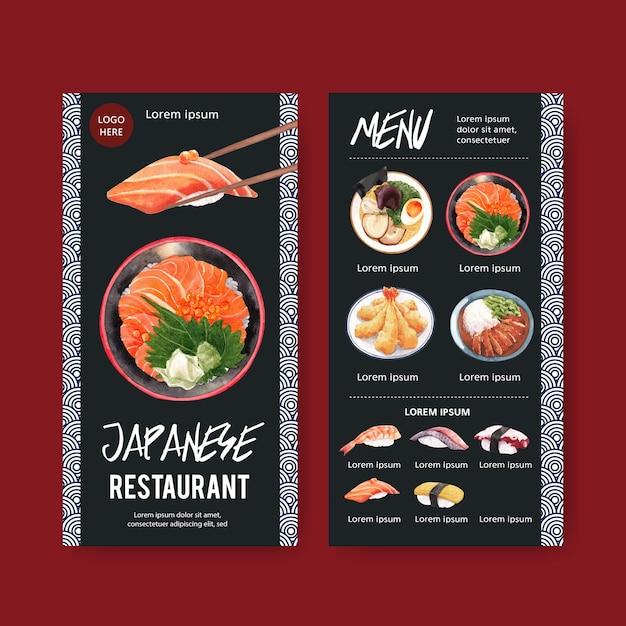 Colección de menú de sushi para restaurante. plantilla con ilustraciones de acuarela de alimentos. vector gratuito
