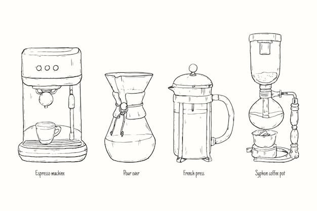 Colección de métodos de preparación de café vector gratuito