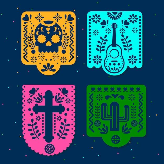 Colección mexicana del empavesado vector gratuito