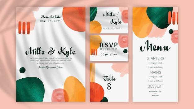 Colección mínima de papelería de boda vector gratuito