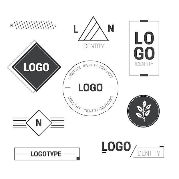 Colección minimalista de elementos del logotipo en dos colores. vector gratuito