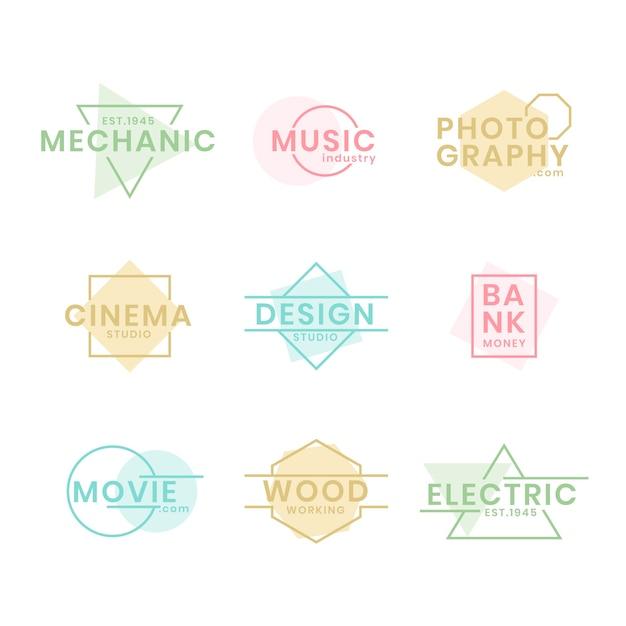 Colección minimalista de logotipos con colores pastel vector gratuito