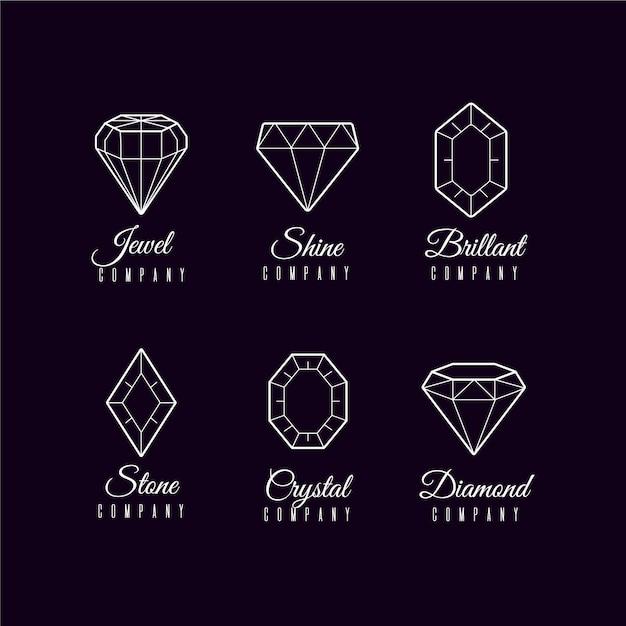 Colección minimalista de logotipos de diamantes vector gratuito