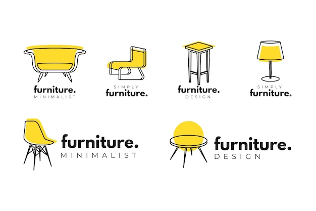 Colección minimalista de logotipos de muebles Vector Premium