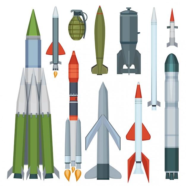 Colección de misiles. conjunto de dibujos animados de armas militares de armadura de vuelo de defensa Vector Premium