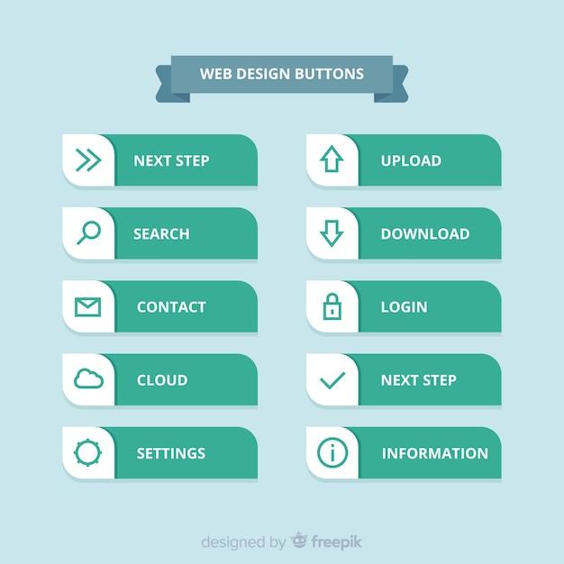 Colección moderna de botones para diseño web con diseño plano vector gratuito