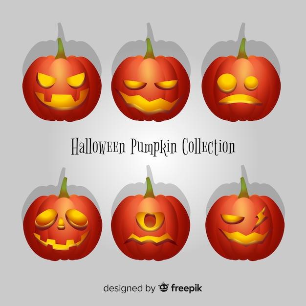 Colección moderna de calabazas de halloween con diseño realista ...