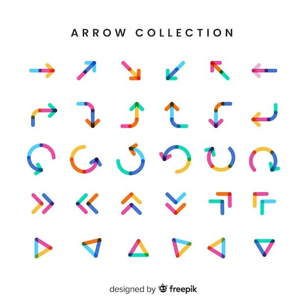 Colección moderna de flechas con diseño plano vector gratuito