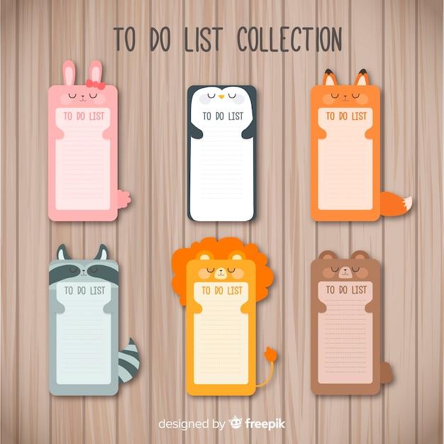 Colección moderna de listas de cosas que hacer con animales adorables vector gratuito