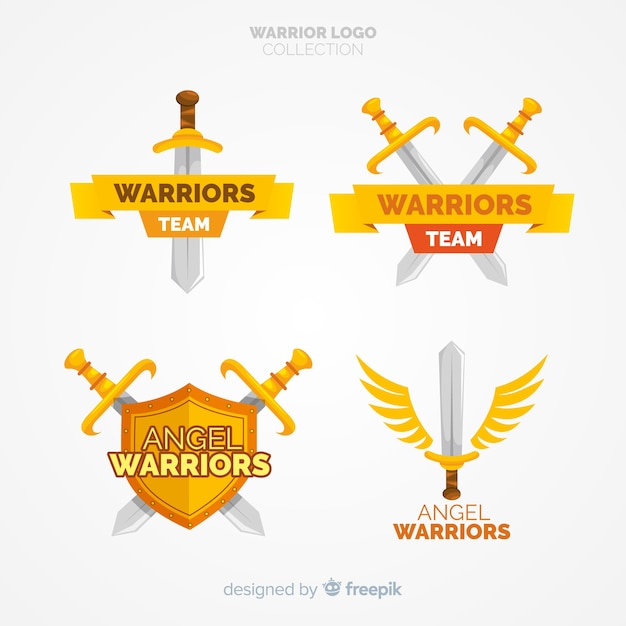 Colección moderna de logos de deporte con guerreros vector gratuito