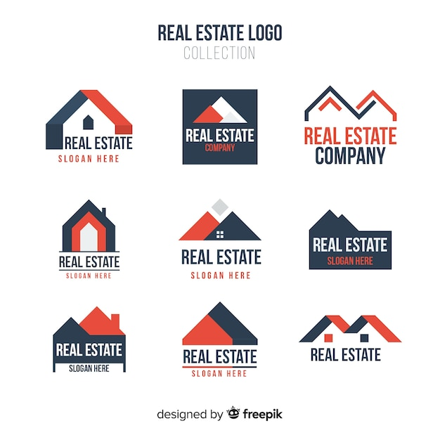 Colección moderna de logos de inmobiliaria vector gratuito