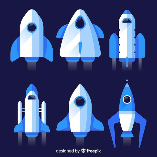 Colección moderna de naves espaciales con diseño plano vector gratuito
