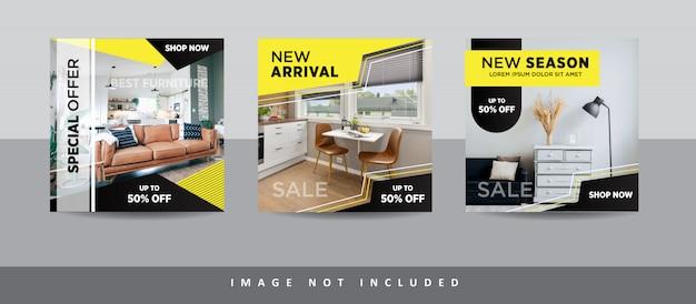 Colección moderna de publicaciones en redes sociales de muebles para instagram Vector Premium