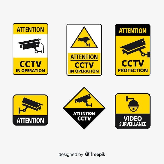 Colección moderna de señales de cámara de seguridad con diseño plano vector gratuito