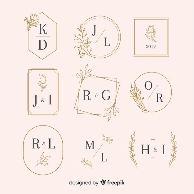 Colección de monograma de boda ornamental vector gratuito