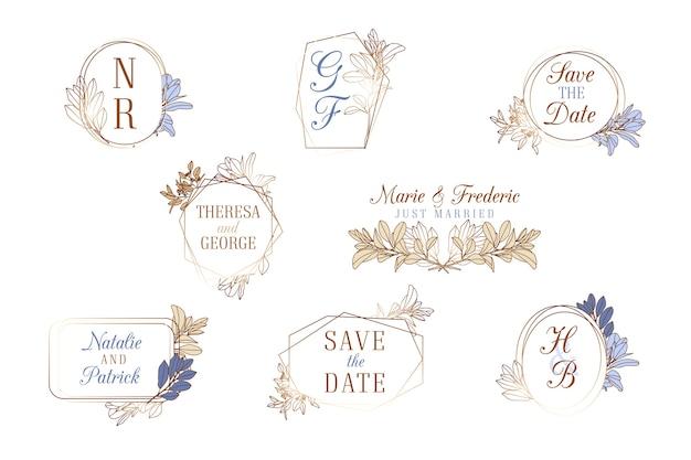 Colección de monogramas de bodas vector gratuito