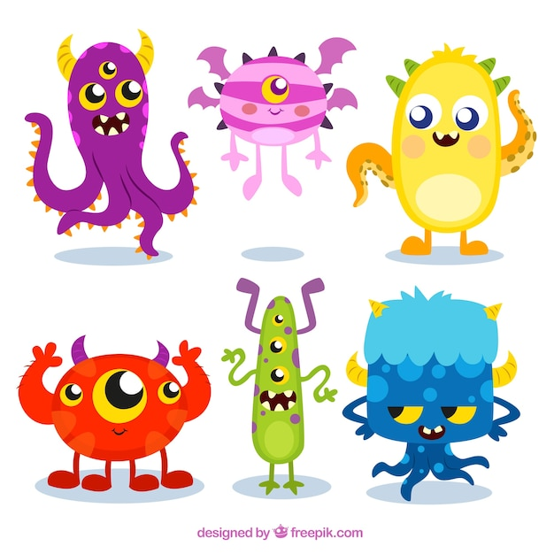Colecci n monstruos coloridos descargar vectores gratis - Dibujos infantiles del espacio ...