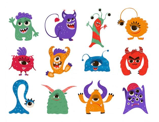 Colección de monstruos divertidos en estilo de dibujos animados.   Vector Premium