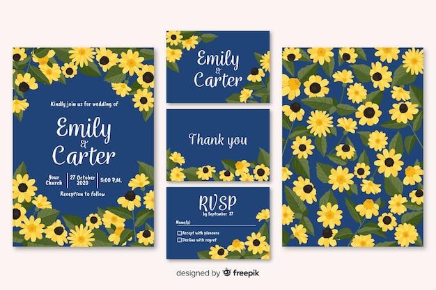 Colección muestras papelería floral boda vector gratuito