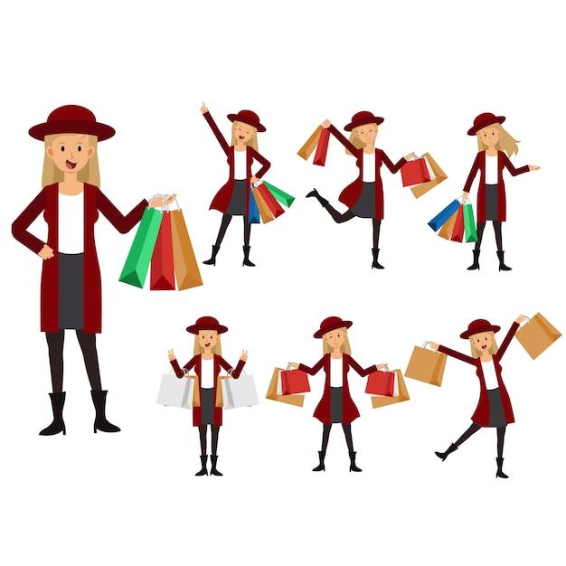 Colección de mujer llevando bolsas de compras. tienda